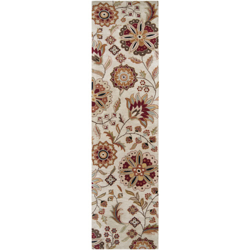 3' x 12' Green and White Contemporary Hand Tufted Floral Rectangular Wool Area Throw Rug Runner - IMAGE 1