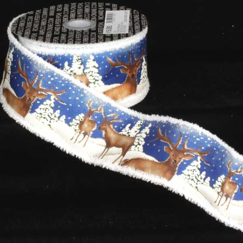 """Blue and Brown Stags with Trees Wired Craft Ribbon 2.5"""" x 20 Yards - IMAGE 1"""