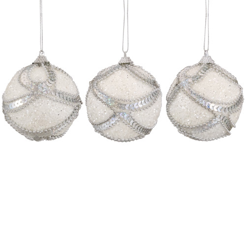 """3ct White and Silver Holographic Shatterproof Christmas Ball Ornaments 3"""" (75mm) - IMAGE 1"""
