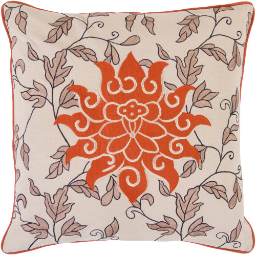 """18"""" Rusty Orange and Beige Contemporary Square Throw Pillow - Down Filler - IMAGE 1"""