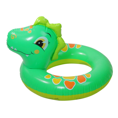 Inflatable Green and Orange Dinosaur Swimming Pool Inner Tube Ring Float, 24-Inch - IMAGE 1