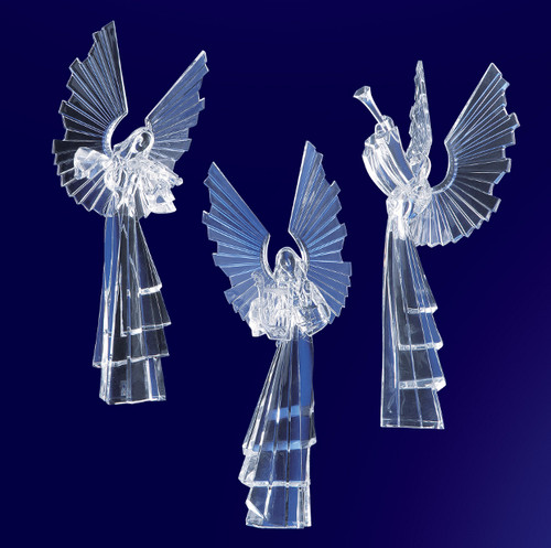 """Set of 6 Clear Icy Religious Instrument Playing Angel Figurines 16.75"""" - IMAGE 1"""