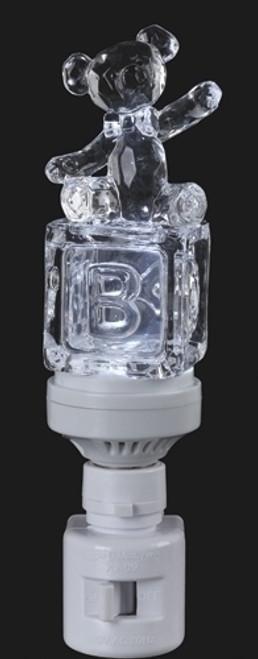 "6.5"" Icy Crystal LED Lighted Baby Block Teddy Bear Night Light - IMAGE 1"