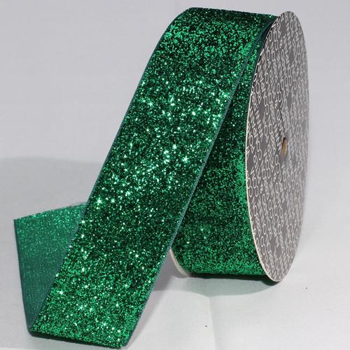 """Forest Green Glitter Woven Edge Velvet Craft Ribbon 1.5"""" x 11 Yards - IMAGE 1"""