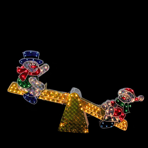 """48"""" Gold and Red Lighted Sparkling Holographic Snowmen on See Saw Christmas Outdoor Decor - IMAGE 1"""