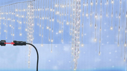 Set of 370 Cool White LED Christmas Giant Icicle Lights - Connect 24V Extension Set - Clear Wire - IMAGE 1