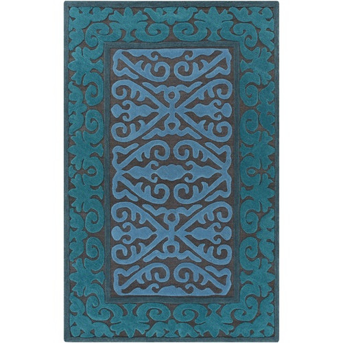 8' x 10' Damask Green and Blue Hand Tufted Rectangular Wool Area Throw Rug - IMAGE 1