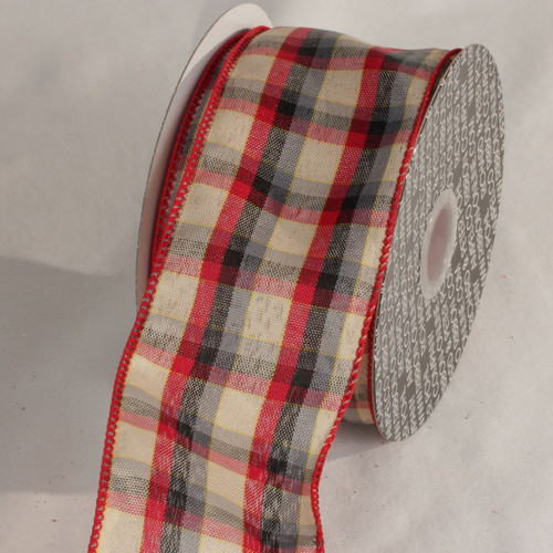 "Red and Beige Tartan Wired Craft Ribbon 2.5"" x 40 Yards - IMAGE 1"