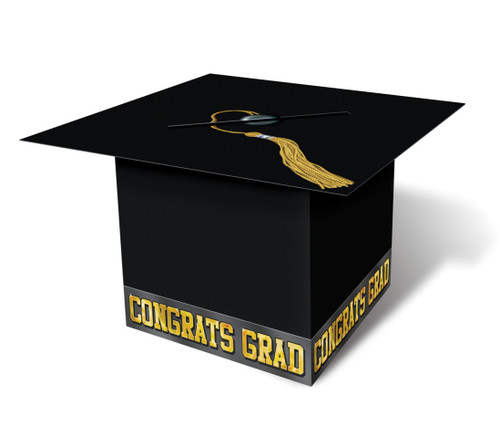 """Pack of 6 Black and Gold Graduation Cap """"CONGRATS GRAD"""" Party Gift Card Boxes 8.5"""" - IMAGE 1"""