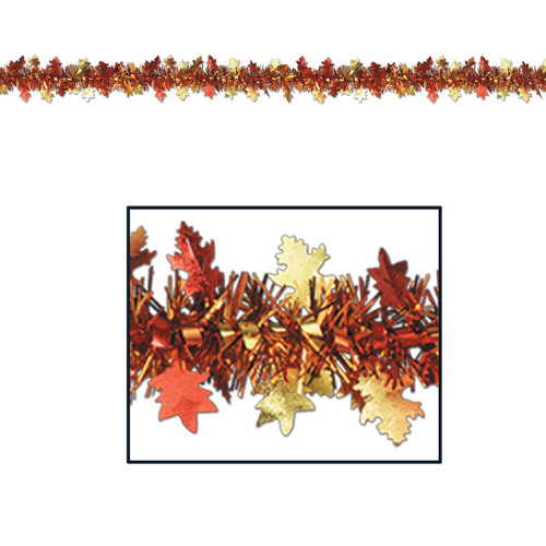 Club Pack of 12 Orange and Red Autumn Harvest Leaf Garland Party Decorations 12' - IMAGE 1
