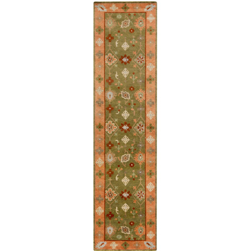 2.5' x 10' Burnt Orange and Olive Green Hand Knotted Rectangular Wool Area Throw Rug Runner - IMAGE 1