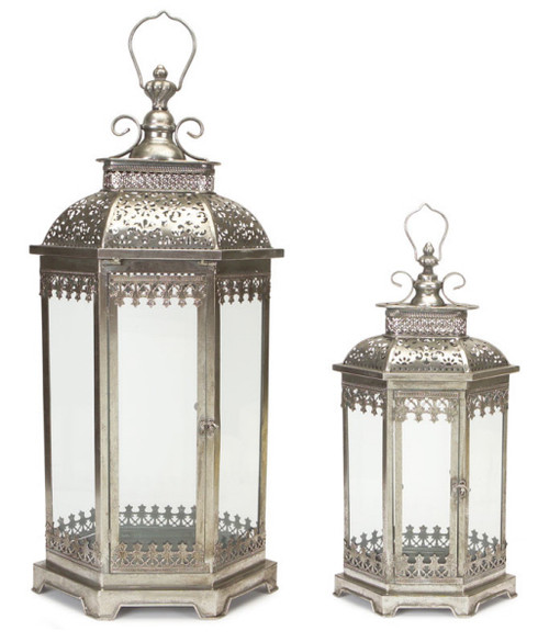 "Set of 2 Antique Style Silver Decorative Glass Pillar Candle Lanterns 34"" - IMAGE 1"