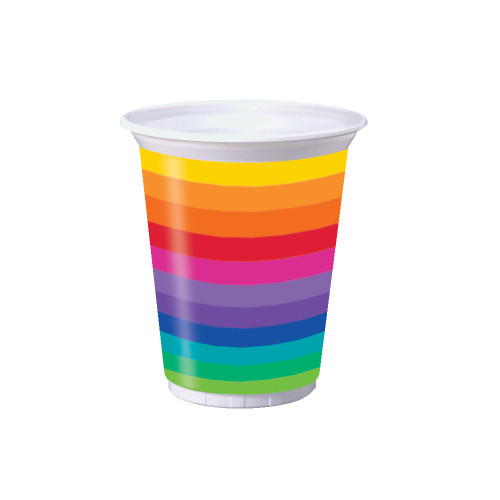 Club Pack of 96 Yellow and Blue Striped Disposable Plastic Drinking Party Tumbler Cups 16 oz. - IMAGE 1