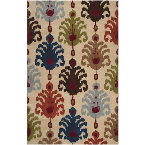 9' x 13' Brown and Blue Contemporary Wool Area Throw Rug - IMAGE 1