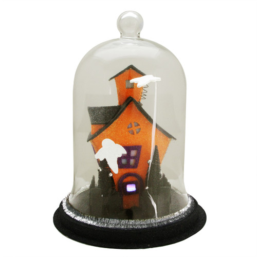 """9.75"""" Clear and Black LED Spooky House with Ghosts on the Roof Halloween Cloche - IMAGE 1"""
