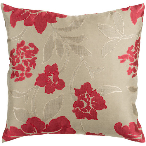 """22"""" Beige and Red Romantic Floral Decorative Throw Pillow - Poly Filled - IMAGE 1"""