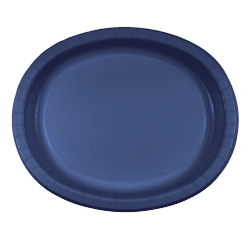 """Club Pack of 96 Navy Blue Disposable Paper Banquet Dinner Plates 12"""" - IMAGE 1"""