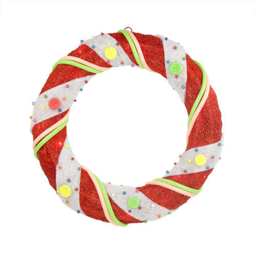 Pre-Lit Candy Cane Stripe Sisal Artificial Christmas Wreath - 18-Inch, Clear Lights - IMAGE 1
