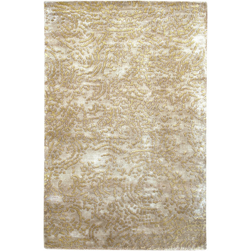 5' x 8' Contemporary Tan Brown and Ivory Hand Knotted New Zealand Wool Area Throw Rug - IMAGE 1