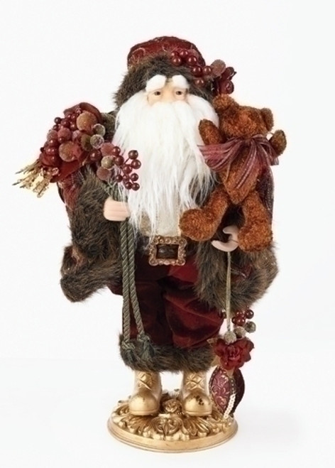 """18"""" Brown and White Santa Claus with Grapes Christmas Tabletop Figure - IMAGE 1"""
