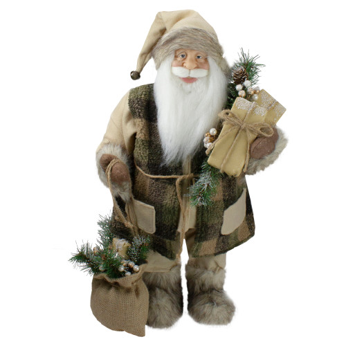 "24"" Brown Standing Santa Claus in Plaid Suit with Gifts Christmas Figurine - IMAGE 1"