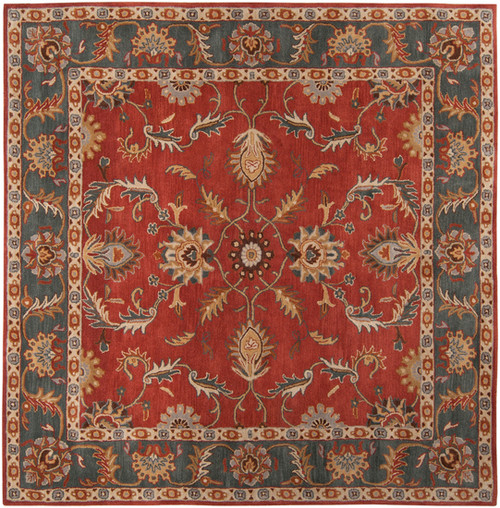 9.75' x 9.75' Red and Slate Blue Hand Tufted Square Area Throw Rug - IMAGE 1