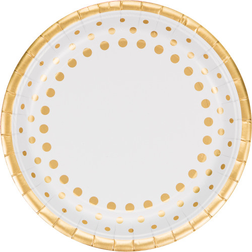 """Club Pack of 96 Sparkle and Shine Gold Disposable Plastic Party Banquet Dinner Plates 10"""" - IMAGE 1"""