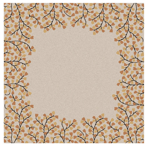 9.75' x 9.75' Black and Orange Contemporary Hand Tufted Floral Square Wool Area Throw Rug - IMAGE 1
