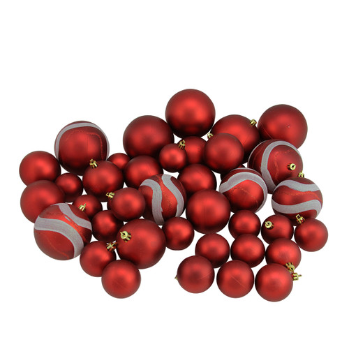 "39ct Red Shatterproof 2-Finish Christmas Ball Ornaments 4"" (100mm) - IMAGE 1"