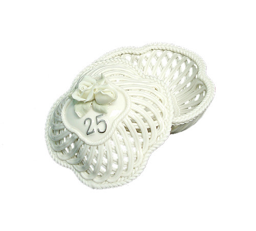 25th Wedding Anniversary To Have & To Hold Porcelain Trinket Basket - IMAGE 1