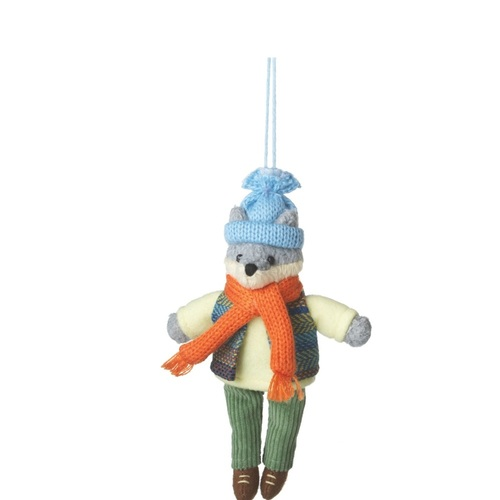 """7"""" Green and Orange Plush Wolf Boy with Dangling Legs Christmas Ornament - IMAGE 1"""