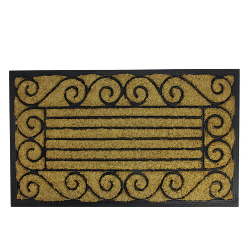 """Black and Brown Contemporary Striped Outdoor Rectangular Doormat 17.75"""" x 29.5"""" - IMAGE 1"""