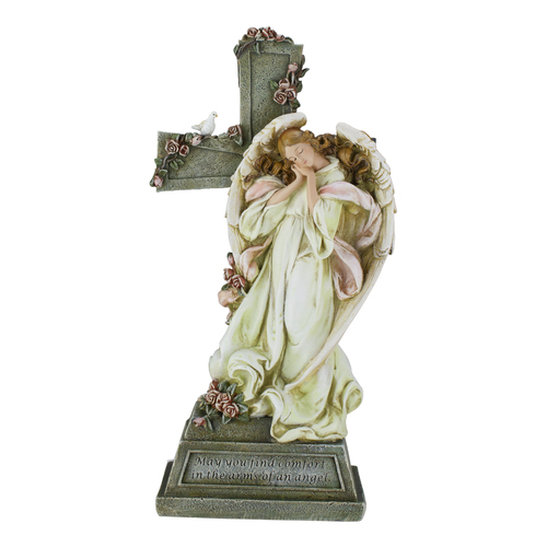 "Roman 14.5"" Joseph's Studio ""Comfort In The Arms of an Angel"" Garden Figurine with Cross - Beige and Gray - IMAGE 1"