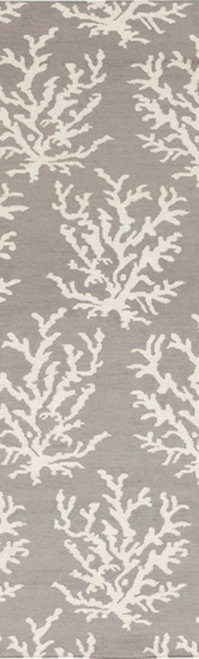 2.5' x 8' Gray and White Hand Woven Wool Area Throw Rug Runner - IMAGE 1