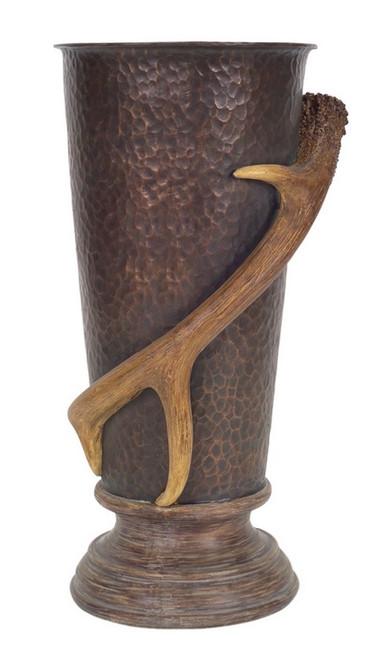 """15.5"""" Brown Hammered Pewter Style Deer Antler Urn Tabletop Decor - IMAGE 1"""