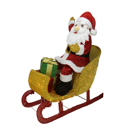"""29.5"""" Red and White Santa Claus in Sleigh with Gift Box Christmas Outdoor Decor - IMAGE 1"""