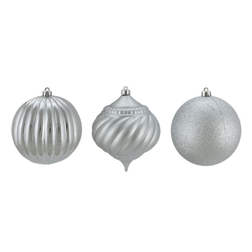 """3ct Silver Shatterproof 3-Finish Christmas Onion and Ball Ornaments 4.75"""" (120mm) - IMAGE 1"""