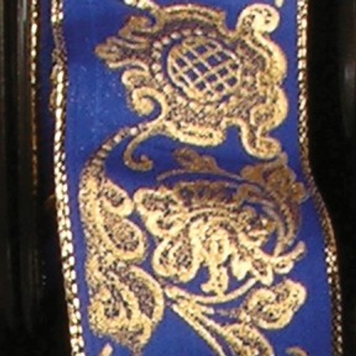 """Shimmering Gold and Navy Blue Ornamental Wired Craft Ribbon 1.5"""" x 27 Yards - IMAGE 1"""