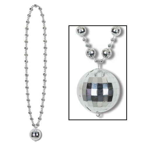 "Club Pack of 12 Metallic Silver Disco Ball Mardi Gras Bead Necklaces 36"" - IMAGE 1"