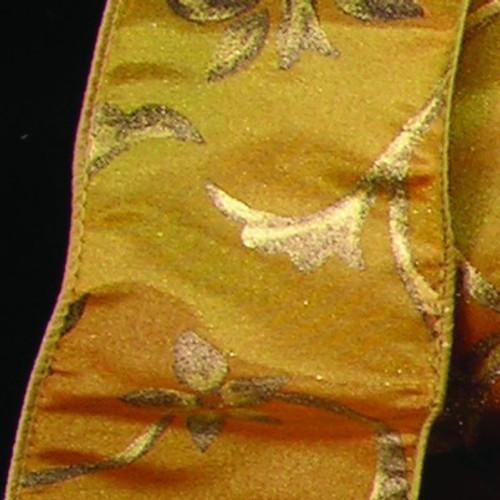"Amber Yellow and Gold Taffeta Swirl Wired Craft Ribbon 2.5"" x 20 Yards - IMAGE 1"