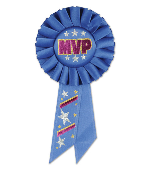 """Pack of 6 Royal Blue """"MVP"""" School and Sports Award Rosette Ribbons 6.5"""" - IMAGE 1"""