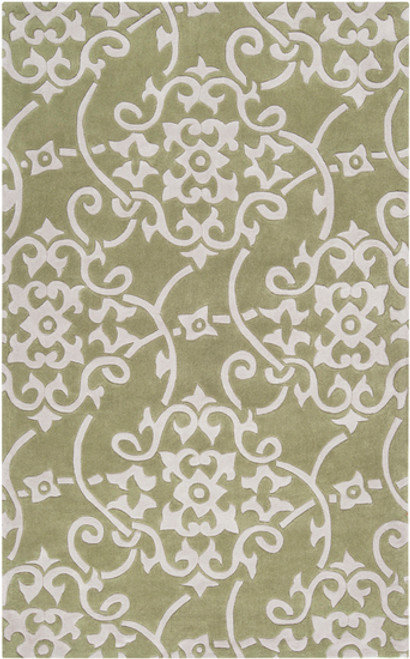 9' x 13' Damask Vines Olive Green and White Hand Tufted Rectangular Polyester Area Throw Rug - IMAGE 1