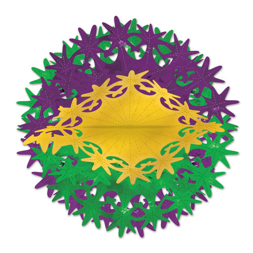 """Club Pack of 12 Metallic Green and Purple Star Ball Hanging Party Decors 12"""" - IMAGE 1"""