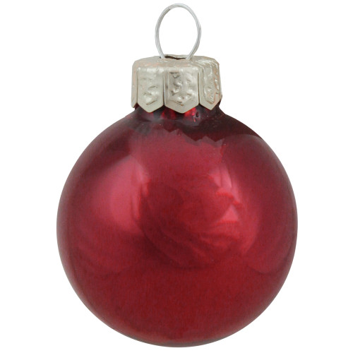 """40ct Bordeaux Pearl Glass Christmas Ball Ornaments 1.25"""" (30mm) - IMAGE 1"""
