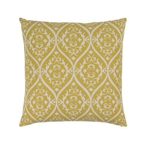"""22"""" Heavenly Hourglass Mustard Yellow and White Decorative Throw Pillow - Down Filler - IMAGE 1"""