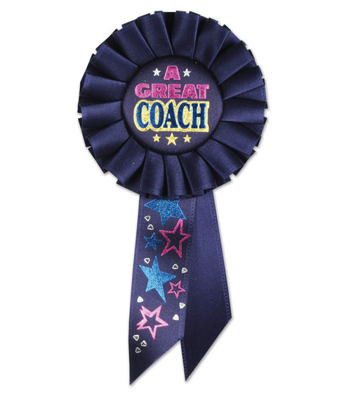 "Pack of 6 Navy Blue ""A Great Coach"" School and Sports Award Rosette Ribbons 6.5 - IMAGE 1"