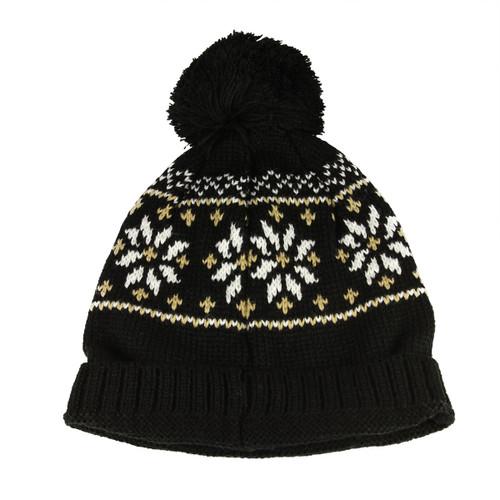 Unisex Black Jacquard Knit Winter Beanie Hat - One Size - IMAGE 1
