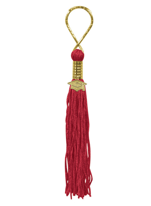 """Pack of 6 Red Graduation Tassel with Cap Medallion Key Chains 5.5"""" - IMAGE 1"""