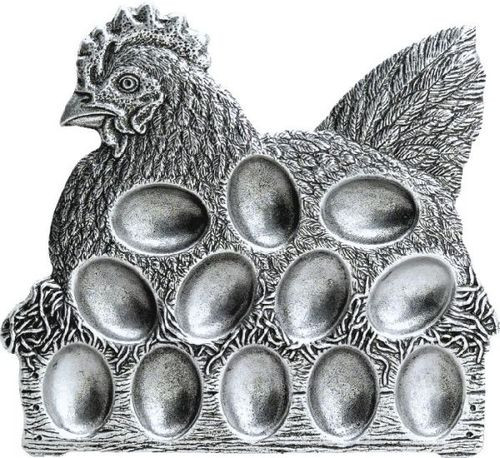 """Pack of 2 Classic Hand Crafted Statesmetal Chicken Egg Serving Plates 10"""" - IMAGE 1"""