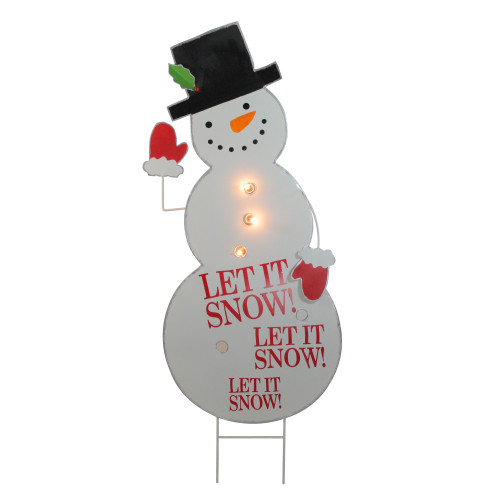"""40"""" Pre-Lit White and Red Whimsical Snowman Outdoor Christmas Decor - IMAGE 1"""